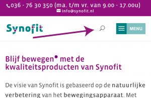 Zoekfunctie op mobiele site Synofit.nl
